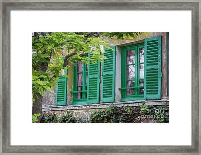 Green Shutters - Paris Framed Print by Brian Jannsen