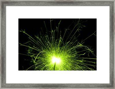 Green Sparkle Framed Print by Samuel Whitton