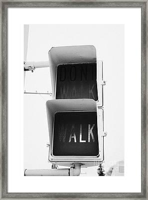 Green Walk Crosswalk Crossing Lights North America Framed Print by Joe Fox