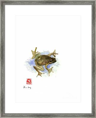 Green Yellow Blue Frog Lake River Animal World Water Colors Jewel Collection Framed Print by Johana Szmerdt