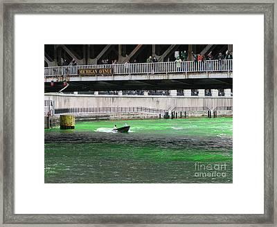 Greening The Chicago River Framed Print by Ann Horn
