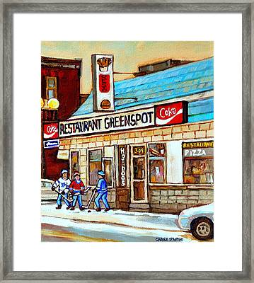 Greenspot Restaurant Notre Dame Street  South West Montreal Paintings Winter Hockey Scenes St. Henri Framed Print by Carole Spandau