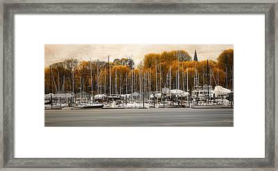 Greenwich Bay Harbor In Rhode Island Framed Print by Lourry Legarde