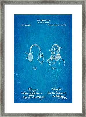 Greenwood Ear Mufflers Patent Art 1877 Blueprint Framed Print by Ian Monk
