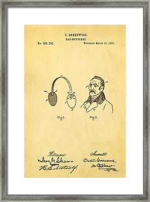 Greenwood Ear Mufflers Patent Art 1877 Framed Print by Ian Monk