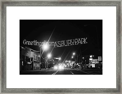 Greetings From Asbury Park New Jersey Black And White Framed Print by Terry DeLuco
