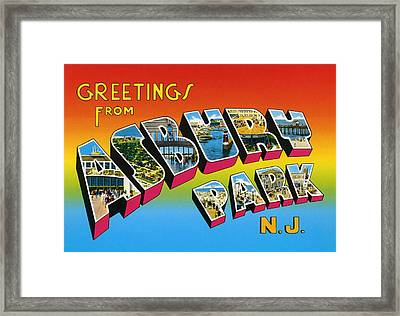 Greetings From Asbury Park Nj Framed Print by Digital Reproductions