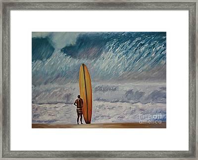 Greg Noll - Waimea Bay Oahu Framed Print by Amy Fearn