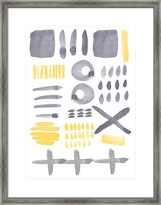 Grey And Yellow Shapes- Abstract Painting Framed Print by Linda Woods