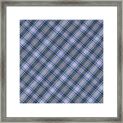 Grey Blue And Green Diagnoal Plaid Fabric Background Framed Print by Keith Webber Jr