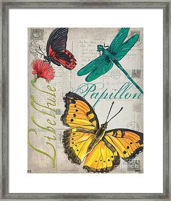 Grey Postcard Butterflies 3 Framed Print by Debbie DeWitt