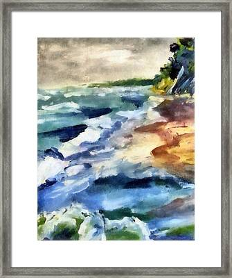 Grey Sky Day On The Lake Framed Print by Michelle Calkins