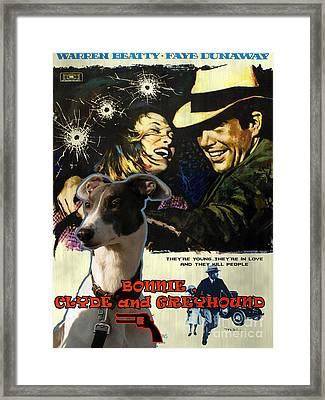 Greyhound Art Canvas Print - Bonnie And Clyde Movie Poster Framed Print by Sandra Sij