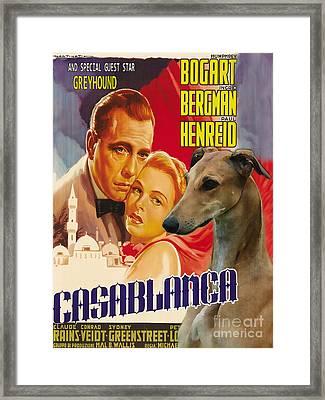 Greyhound Art - Casablanca Movie Poster Framed Print by Sandra Sij