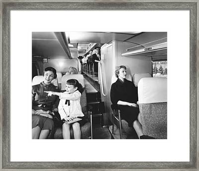 Greyhound Bus Passengers Framed Print by Underwood Archives