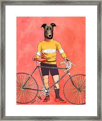 Greyhound Cyclist Framed Print by Kelly McLaughlan