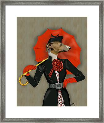 Greyhound Elegant Red Umbrella Framed Print by Kelly McLaughlan