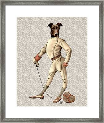 Greyhound Fencer Full White Framed Print by Kelly McLaughlan