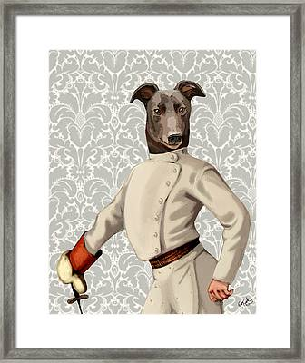 Greyhound Fencer White Portrait Framed Print by Kelly McLaughlan