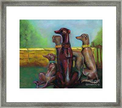 Greyhound Figurines Framed Print by Frances Marino