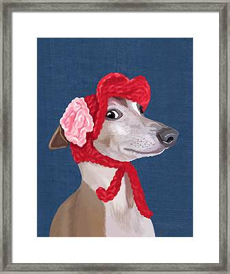 Greyhound Red Knitted Hat Framed Print by Kelly McLaughlan