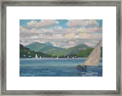 Greylock From Pontoosuc Lake Framed Print by Len Stomski