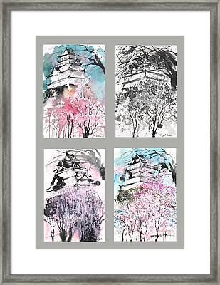 Grid No.6 Japanese Castle In Spring Framed Print by Sumiyo Toribe