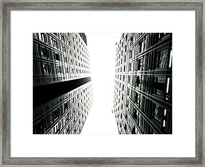 Grids Lines And Glass Structure - Google London Offices Framed Print by Lenny Carter