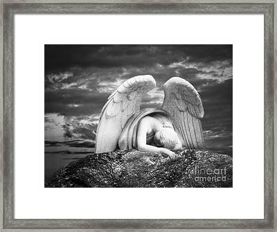 Grieving Angel Framed Print by Olga Zamora