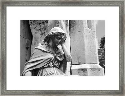 Grieving Statue Framed Print by Jennifer Ancker