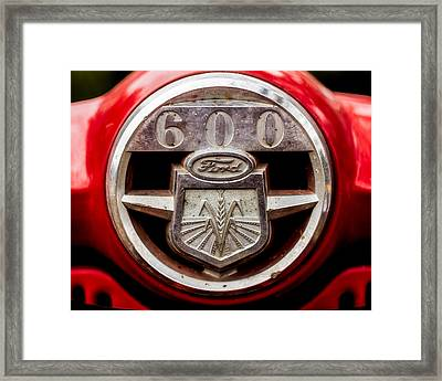Grill Logo Detail - 1950s-vintage Ford 601 Workmaster Tractor Framed Print by Jon Woodhams