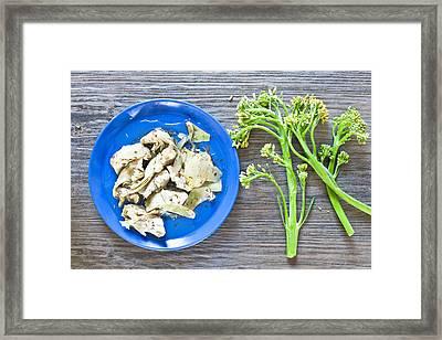 Grilled Artichoke And Brocolli Framed Print by Tom Gowanlock