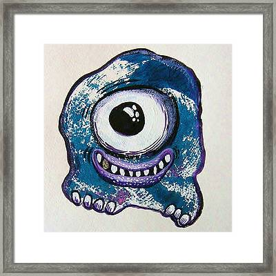 Grinning Monster Framed Print by Nancy Mitchell