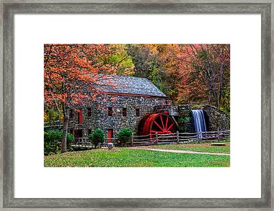 Grist Mill In Autumn Framed Print by Laura Duhaime