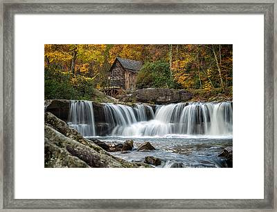 Grist Mill With Vibrant Fall Colors Framed Print by Lori Coleman