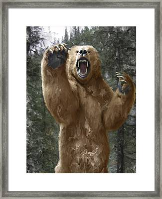Grizzly Bear Attack On The Trail Framed Print by Daniel Hagerman
