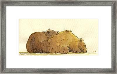 Grizzly Bears Framed Print by Juan  Bosco