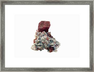 Grossularite Garnet Crystal Framed Print by Science Stock Photography