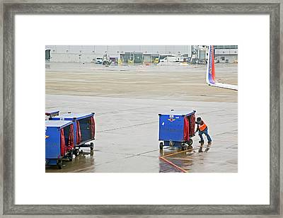 Ground Crew Worker At Chicago Airport Framed Print by Jim West
