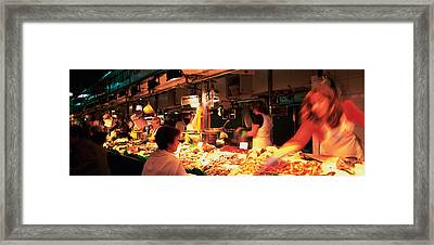 Group Of People At A Street Market Framed Print by Panoramic Images