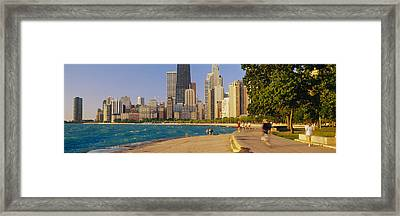 Group Of People Jogging, Chicago Framed Print by Panoramic Images