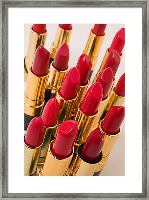 Group Of Red Lipsticks Framed Print by Garry Gay