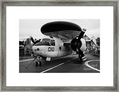 Grumman E1b E1 Tracer On Display On The Flight Deck Of The Uss Intrepid Framed Print by Joe Fox