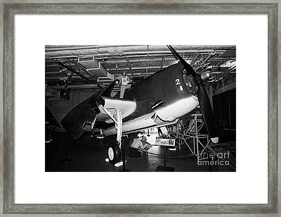 Grumman Eastern Aircraft Tbm 3e Tbm3e Avenger On The Hangar Deck At The Intrepid Air Space Museum Framed Print by Joe Fox