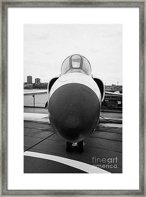 Grumman F11f Tiger On Display On The Flight Deck At The Intrepid Sea Air Space Museum New York Framed Print by Joe Fox