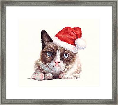 Grumpy Cat As Santa Framed Print by Olga Shvartsur