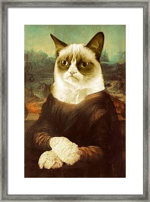 Grumpy Cat Mona Lisa Framed Print by Tony Rubino