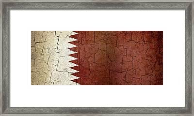 Grunge Qatar Flag Framed Print by Steve Ball