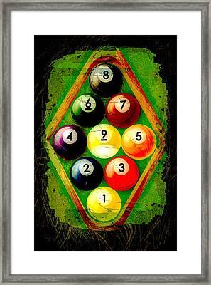 Grunge Style 9 Ball Rack Framed Print by David G Paul