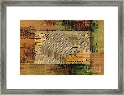 Grunge Technology Background Framed Print by Michal Boubin